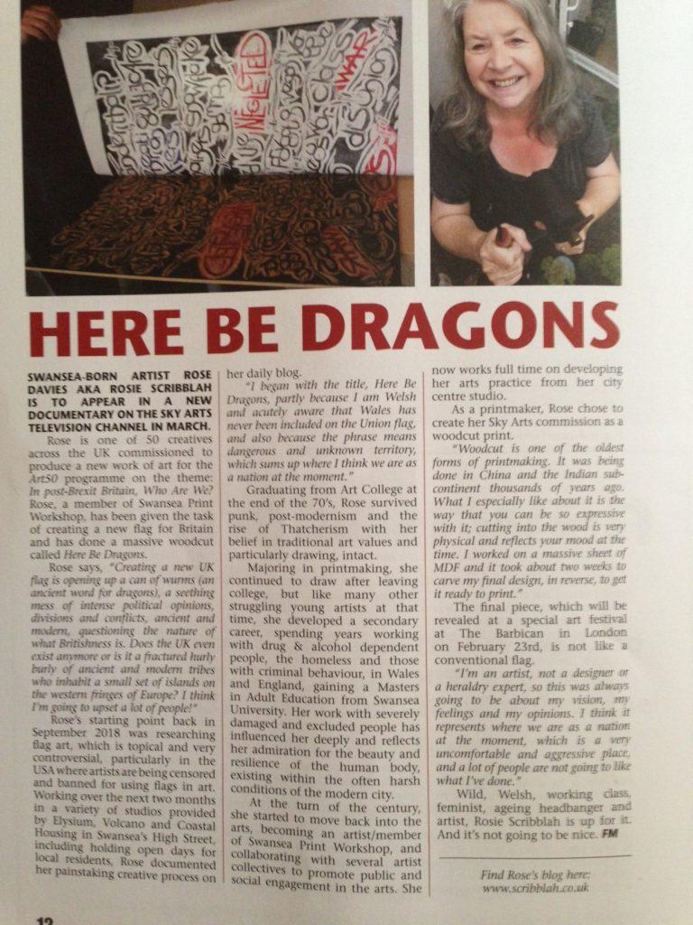 Here Be Dragons Rose Davies Newspaper Article